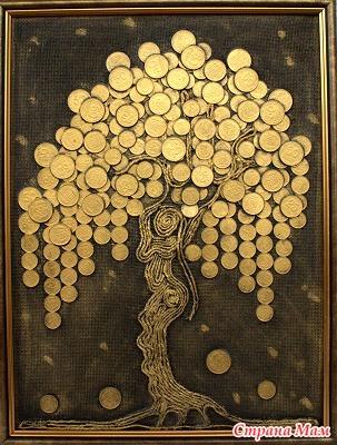 Денежное дерево из монет своими руками панно