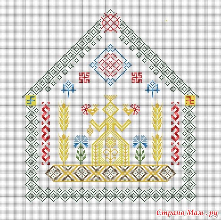Вышивка оберега для дома крестом 30