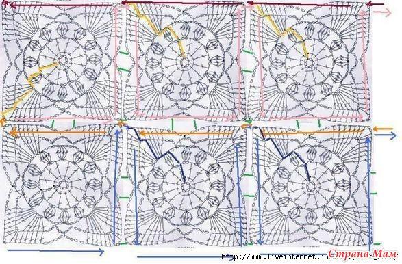 Схема безотрывного вязания королевского мотивов крючком 48
