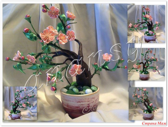 Деревья из лент цветы