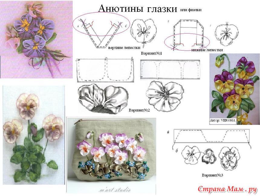 Рисунки для вышивки атласными лентами 92