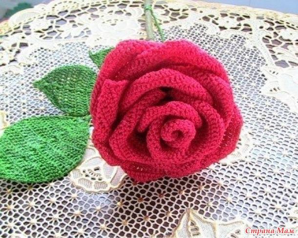Вязание крючком-цветы-роза