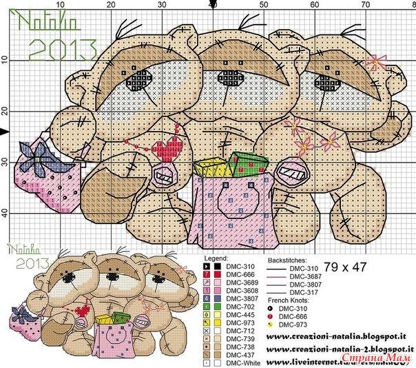 Бесплатные схемы вышивки медвежат