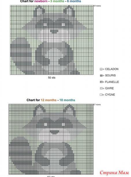 Енот схема для вязания