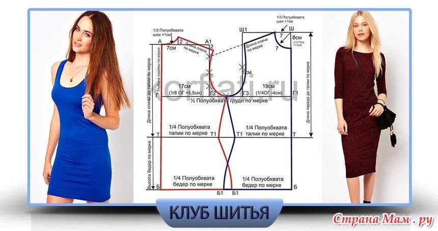 Выкройка платья из эластичной ткани