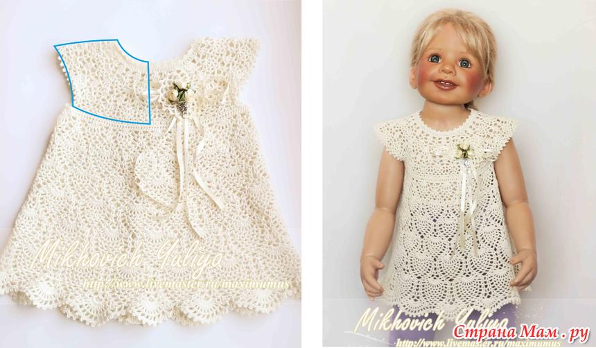 Вязание платья для девочек с кокеткой 979