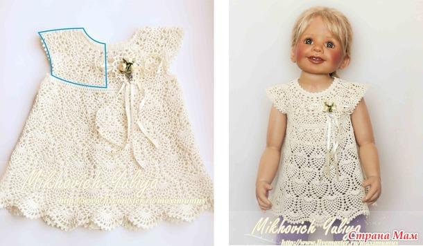 Немного о круглой кокетке для детских платьев, связанной крючком.