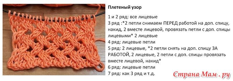Узор и схема вязания спицами плетенка 247