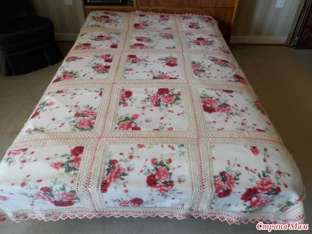 . такое чудо получилось из простого одеяла :)Одеяло-обыкновенная флиска :), нитки- полиакрил, крючок 3, сама идея работы найдена в интернете на Pinterest :)