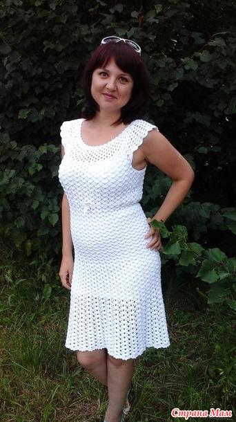 """. Белое платье крючком """"Зефирное облачко """""""