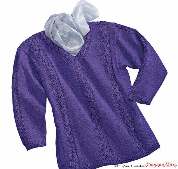 Стильный пуловер(10 размеров) спицами.