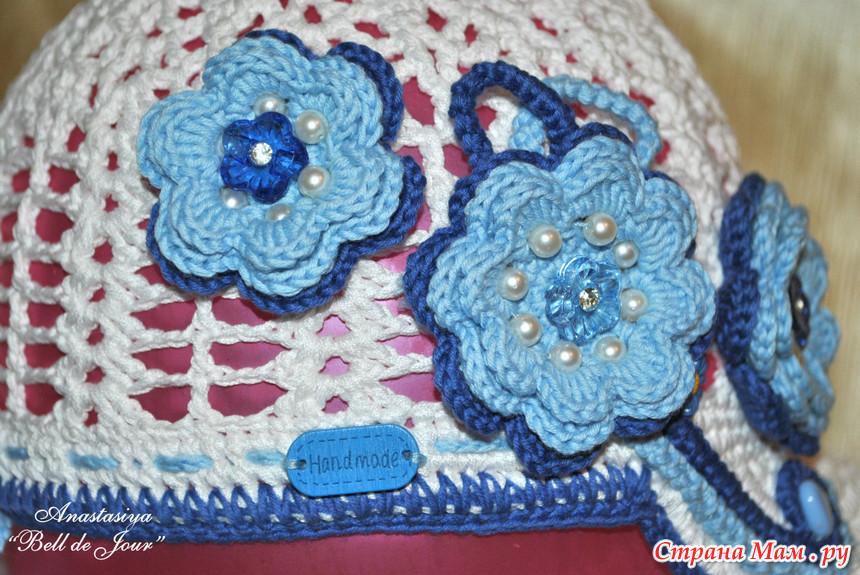 Вязание кепок для девочек крючком