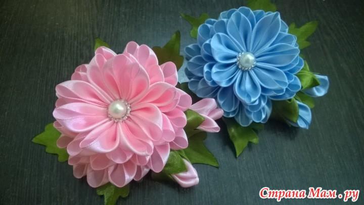 Цветок из лент канзаши мастер класс видео - БашГеоСтандарт