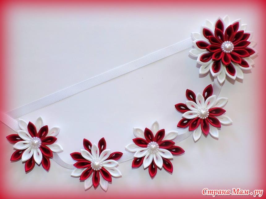 Цветы на ленте в косу своими руками 24