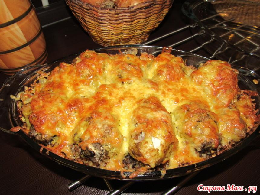 курица запеченная с гречкой под сырной корочкой