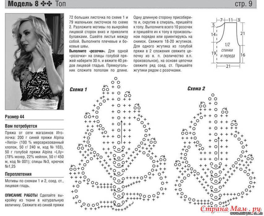 Вязание крючком схемы и модели журнала мод 80