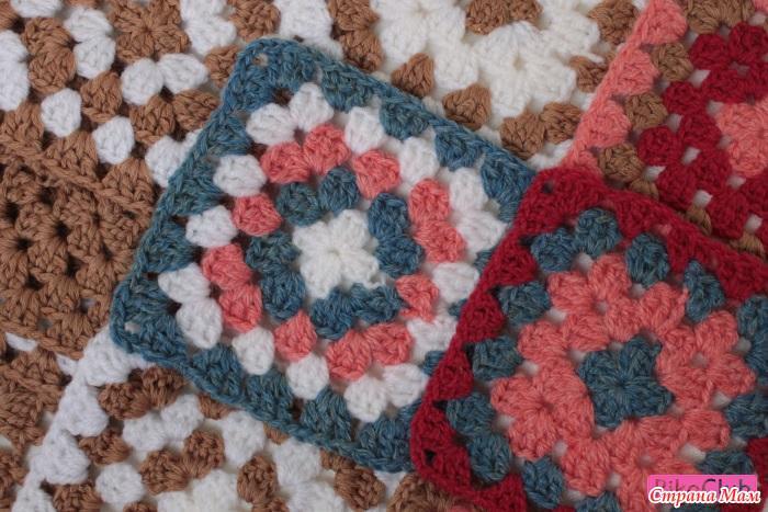 Афганское вязание крючком квадраты 37