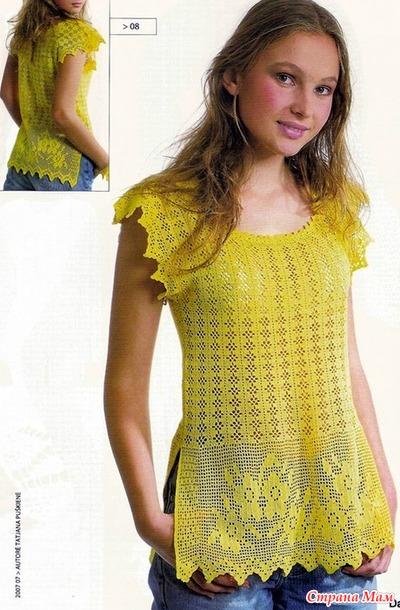 Желтая блуза в филейной технике.