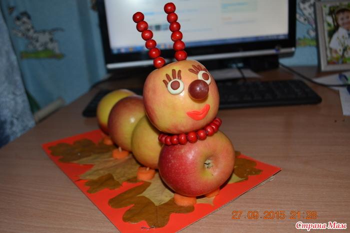 как сделать гусеницу из яблок фото