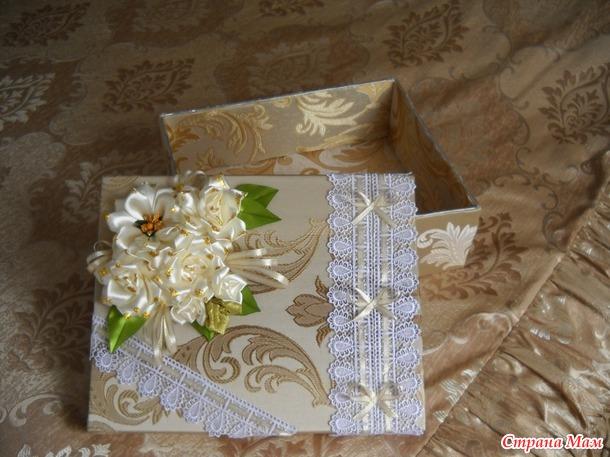 МК как обувную коробку превратить в замечательную шкатулку для рукоделия