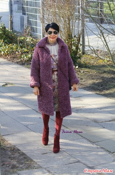 Пальто-шубка из фурланы (спицы)