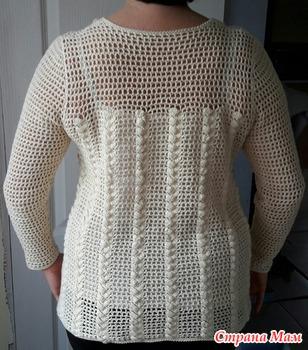 Блуза-Туника крючком. Филейная сетка и рельефный узор.