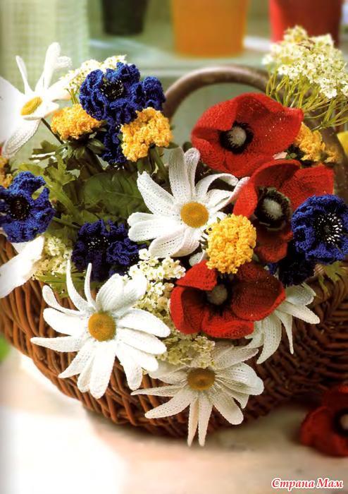 Вязание крючком букетов цветов схемы