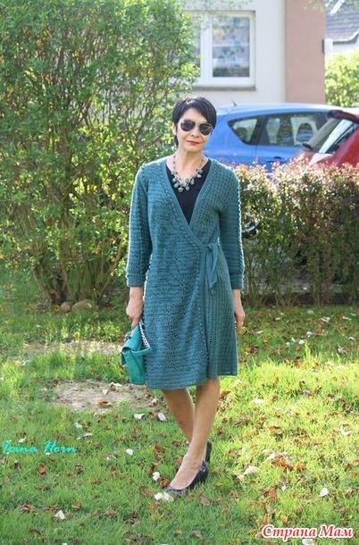 Бирюзовое платье -кардиган с запахом.