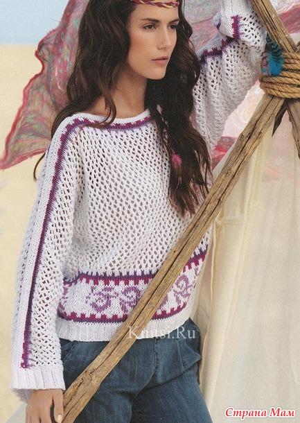 Ажурный пуловер с орнаментом