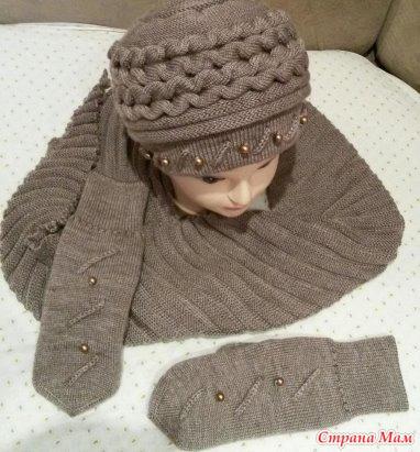 Вязание шапки с валиками 85