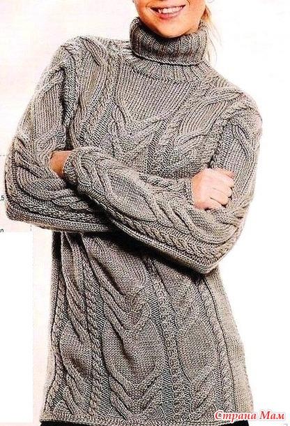 Узорчатый свитер спицами.