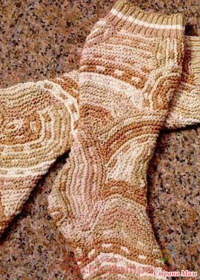 """* Необычные вязаные носки «Maple swirl» """" Кленовый вихрь """""""