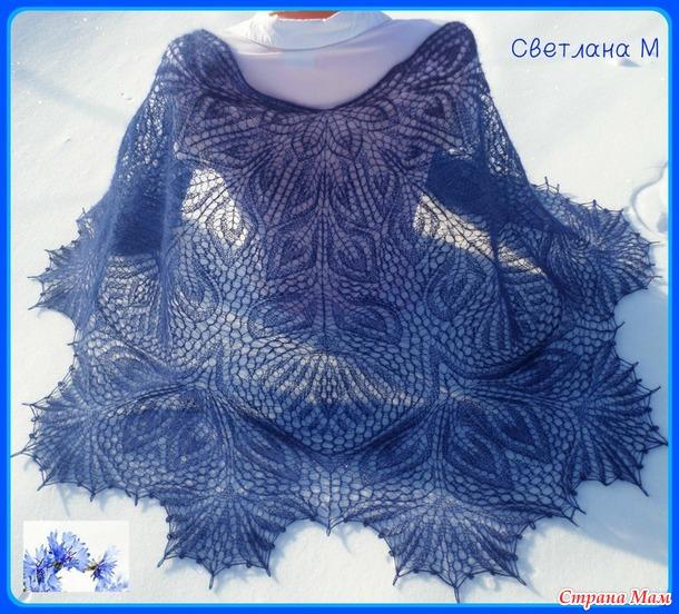 Вязание спицами из мохера шаль