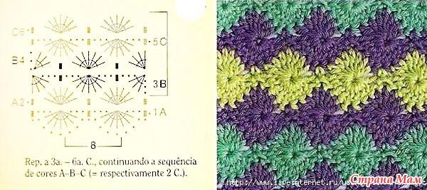 Вязание крючком разноцветными нитками