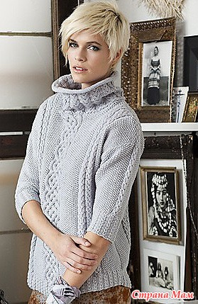 Пуловер женский с аранами