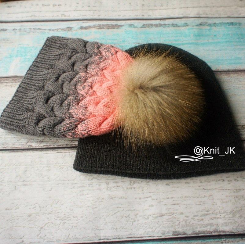Вязание шапочки с косичкой