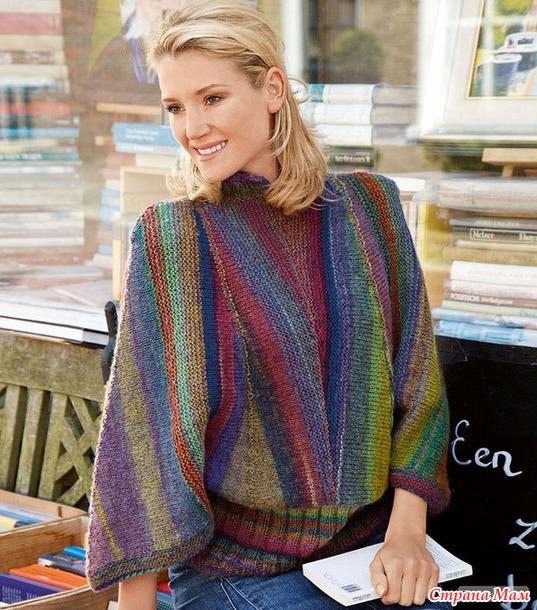 Оригинальный пуловер поперек укороченными рядами