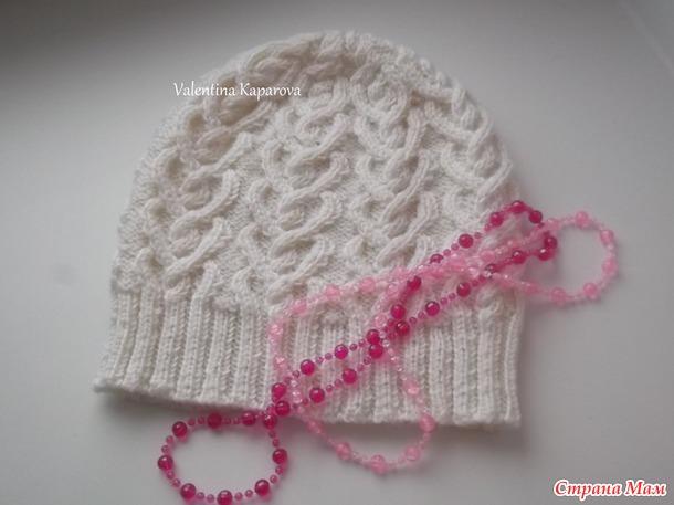 """Женская шапка """"Морозные узоры"""" + описание (авторская работа)"""