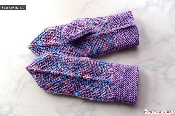 Печворк - вязание спицами, техника вязания.  Варежки МК.