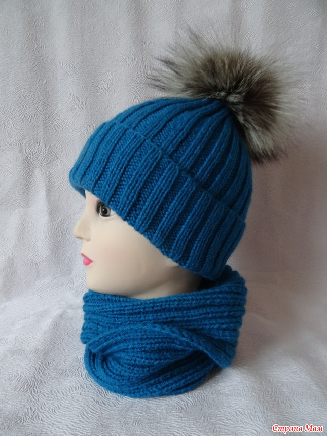 Вязание спицами резинок шапки на 2 спицах