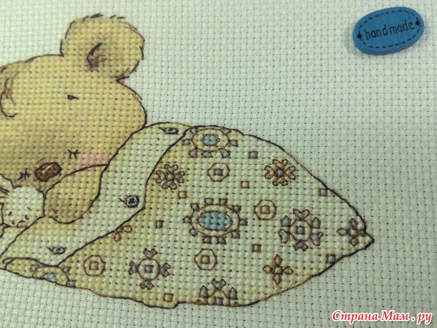Вышивка крестом спящий мишка