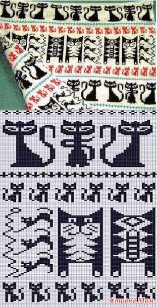 Схема кошки на варежки