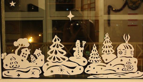 Украшение на окна на новый год шаблон