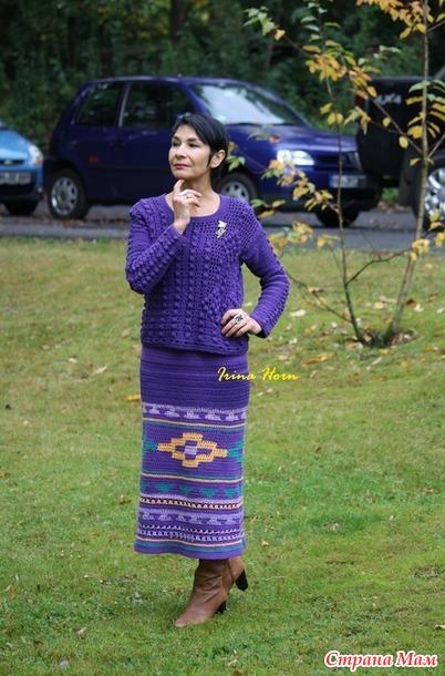 Юбка с перуанскими мотивами и пуловер. Крючок.