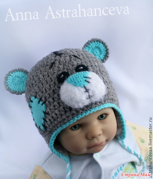 Вязание шапки-медвежонка