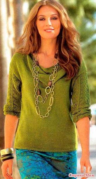 Пуловер с воротником «Каскад» спицами