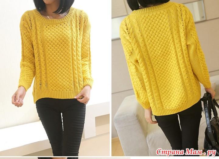 Вязание свитера спицами для женщин крупная вязка 77