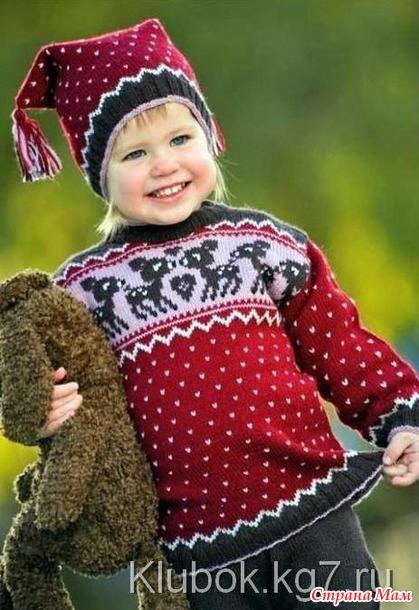 """* Жаккардовый свитер и шапочка для девочки. Серия """" Все лучшее - детям!"""""""