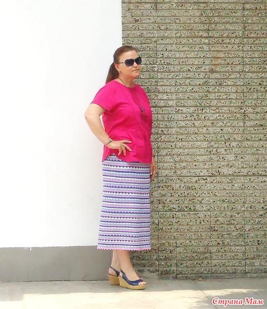 Связать разноцветную юбку