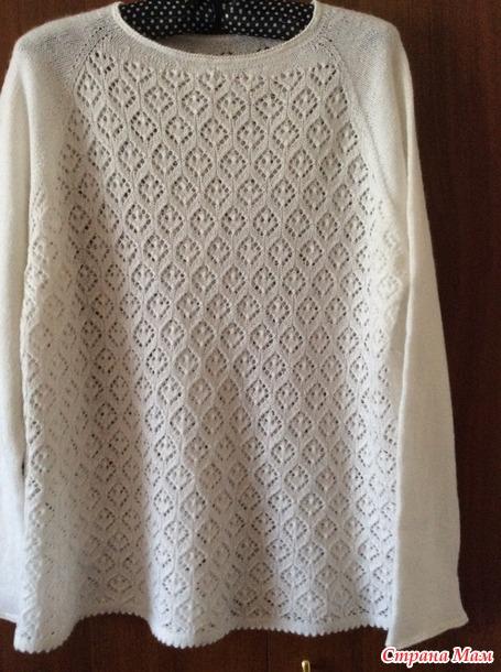 Ажурный пуловер регланом сверху